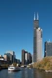 Fall in im Stadtzentrum gelegenes Chicago, Illinois Stockfotografie