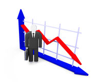Fall indicators and abstract figure  of businessman Stock Photography