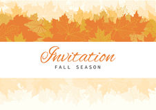 Fall Invitation Card Design with Leaves Royalty Free Stock Photography