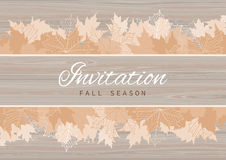 Fall Invitation Card Design with Leaves on wood background Royalty Free Stock Photo