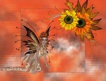 Fall-Jahreszeit-Sonnenblume Fae Hintergrund Stockfotos