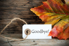 Fall Label with Goodbye Stock Photos