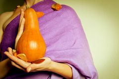 Fall lady with pumpkin Stock Photo
