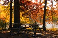 Fall Lake. Beautiful fall picnic table and lake Royalty Free Stock Image
