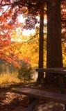 Fall Lake. Beautiful fall picnic table Royalty Free Stock Photo