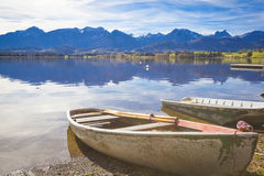 Fall at the lake. Hopfensee in in Allgau in Bavaria in autumn Royalty Free Stock Photo