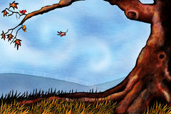 Fall landscape. Hand drawn tree with grass, two birds and fall leaves framing a blustery sky Stock Photo