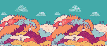 Fall landscape horizontal seamless pattern Royalty Free Stock Image
