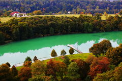Colorful fall landscape at bathing lake Stock Photo