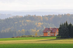 Fall landscape with lonely house Royalty Free Stock Image