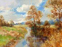 Fall landscape painting. Fall landscape - hand painted acrylic paint sketch Stock Images