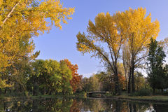 Fall landscape scene in city Park Skopje #2 Royalty Free Stock Images