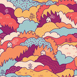 Fall landscape seamless pattern background Royalty Free Stock Photos