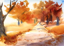 Fall Landscape with Trees and Walking Man Watercolor Nature Illustration Hand Painted Stock Photography