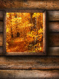 Fall landscape view through a window Royalty Free Stock Photos