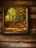 Fall landscape view through a  window Royalty Free Stock Photo