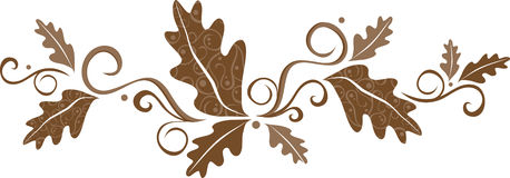 Fall leaf banner. A scrolling banner in tones of chocolate brown stock illustration