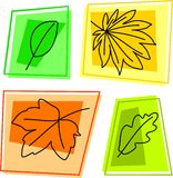Fall leaf icons Stock Photography