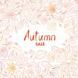 Fall leaf nature background. Autumn leaves pattern with letterin. G Autumn sale. Season floral icon wallpaper stock photo