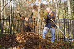 Fall leaf raking Stock Photo