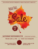 Fall leaf sale flyer template. Huge Fall Sale minimalist flyer template royalty free illustration
