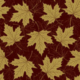 Fall leaf seamless pattern. Autumn foliage. Repeating golden color design. Royalty Free Stock Photo