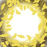 Fall Leaf wreath of yellow leaves on distressed edge circular border in square design with space for text, background. Artistic yellow gold leaves flourish on Royalty Free Illustration