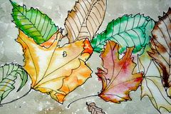 Fall Leaves. Autumn Leaves painted by a child (by photographer Royalty Free Stock Photography