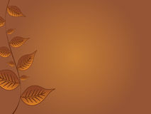 Fall Leaves Background. Graphic illustration of golden fall leaves against a brown background Royalty Free Stock Photos