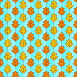 Fall Leaves Background. Colorful pattern of orange and yellow stylized fall leaves on light sky blue checkered background. Vector seamless repeat Stock Images