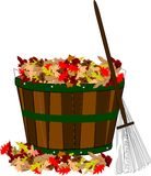 Fall leaves in basket with rake Stock Photography