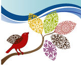 Fall leaves with bird. Stylized pattern leaves with bird - season concept Stock Image