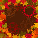 Fall leaves border. Fall colored leaves surrounding center with graphic design elements Stock Photography