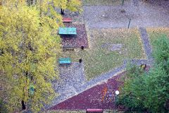 Fall of the leaves in the city park in autumn day. Lot of fallen leaves on the ground top view stock images