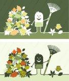 Fall leaves colored cartoon Stock Photos