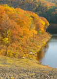 Fall leaves and dam lake Stock Photo