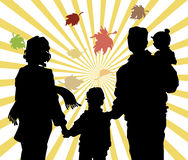 Fall leaves in family. Stock Photos