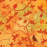 Fall leaves floral seamless pattern. Autumn forest background wi Royalty Free Stock Photo