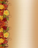 Fall Leaves and Flowers Border vector illustration