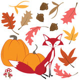 Fall leaves with fox. Vector illustration of a cute fox amid swirling leaves, pumpkins and acorns Stock Photos