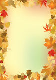 Fall leaves frame with copyspace background.