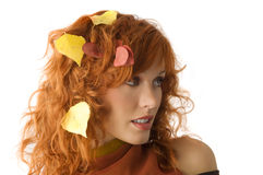 Fall leaves between hair Stock Photos