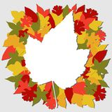 Fall leaves illustration on a grey background Royalty Free Stock Photo