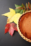 Fall leaves or leafs with black back ground and a pumpkin pie vertical Royalty Free Stock Photos