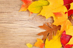 Fall Leaves on Old Wooden Background stock photo