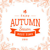 Fall leaves pattern and text. Royalty Free Stock Photography
