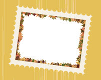Fall Leaves Photo Frame. Fall Leaves Family Photo Frame in  illustrated artwork design Stock Photos