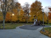 Fall leaves at the playground.  stock image