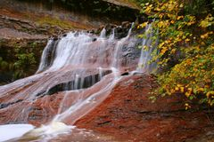 Fall Leaves Red Waterfall Stock Images