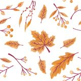 Fall leaves seamless pattern with gold glitter texture. illustration for stylish background, banner, textile, wrapping